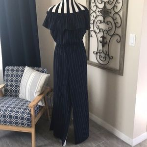 Pinstripe & Ruffles Sexy Off Shoulder Jumpsuit